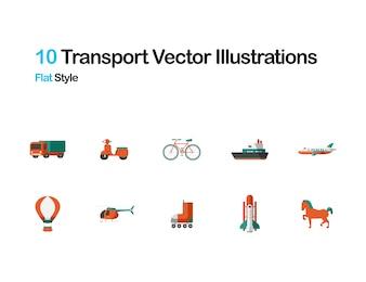 Ilustração plana de transporte