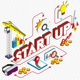 Ilustração, startup, conceito, isometric, gráfico
