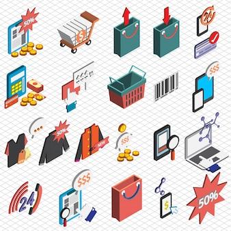 Ilustração, venda, ícones, jogo, conceito, isometric, gráfico