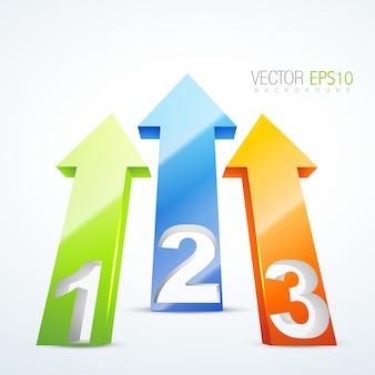 Ilustração vetorial de 3d com setas numeradas