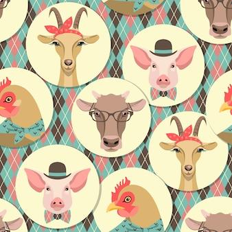Ilustração vetorial de animais de fazenda. Patern transparente