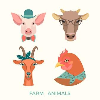 Ilustração vetorial de animais de fazenda.