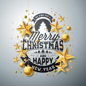 Ilustração vetorial de Natal e Ano Novo com tipografia e papel cortado estrelas em fundo limpo. Design de feriado para cartão, cartaz, banner.
