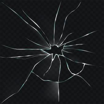 Ilustração vetorial de um vidro quebrado, rachado e rachado com um buraco