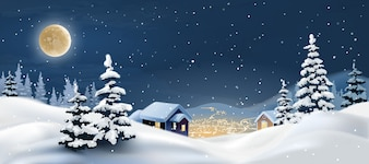 Ilustração vetorial de uma paisagem de inverno.