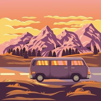 Ilustração vetorial de uma paisagem de montanha