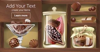 Ilustração vetorial de uma prateleira de madeira com chocolate