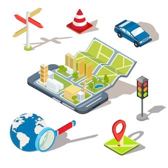 Ilustração vetorial do conceito de utilização da aplicação móvel do sistema de posicionamento global.