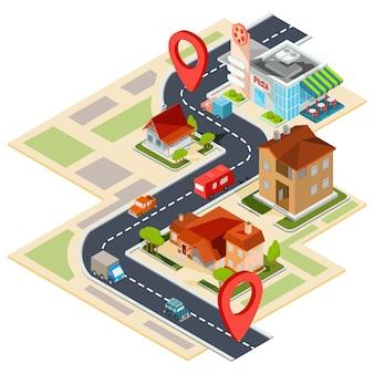 Ilustração vetorial do mapa de navegação com ícones gps