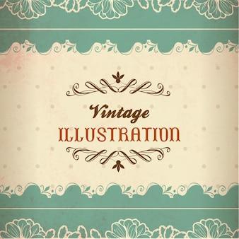 Ilustração vintage com rendas, flores e tipografia