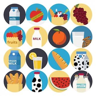 Ilustrações alimentares saudáveis