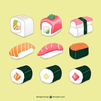 Ilustrações de sushi embalar