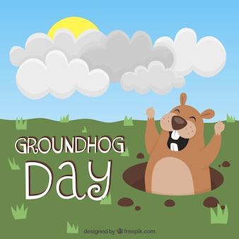 Ilustrado fundo feliz do dia de groundhog