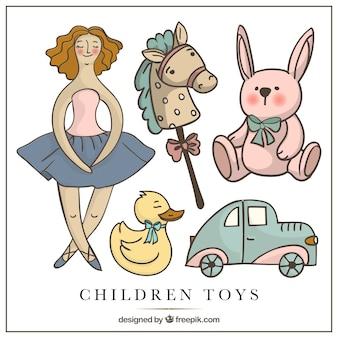 Ilustrados brinquedos das crianças no estilo do vintage