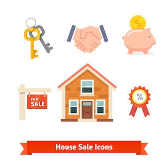 Imobiliário, hipoteca de casa, empréstimo, ícones de compra