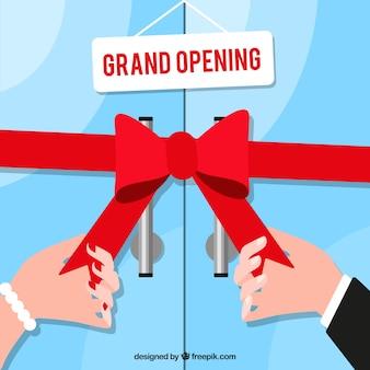 Inauguração com arco e loja