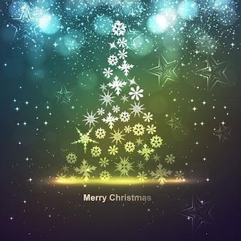 Incandescência Cartão de Natal com flocos de neve