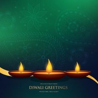 Incrível Fundo do cumprimento do festival de Diwali feliz com decoração henna paisley