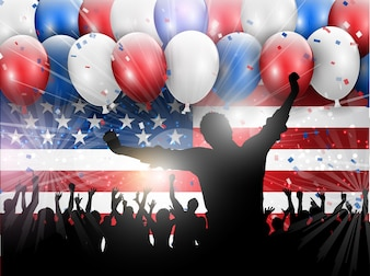Independência, Dia, julho, celebração, fundo, balões, confetti