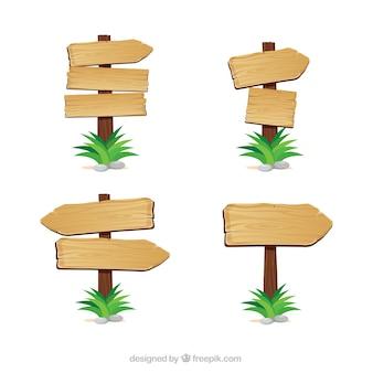 Indicações flechas de madeira