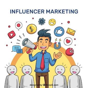 Influenciador de vetor de marketing com multidão