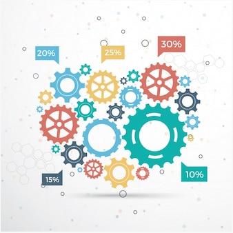 Infografia com design de engrenagens