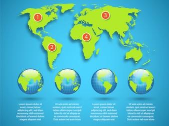 Infografia com design de mapa mundial