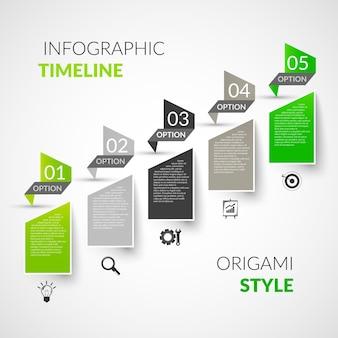 Infografia de linha de tempo de papel