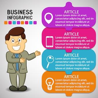 Infografia de negócios com um desenho animado do homem feliz