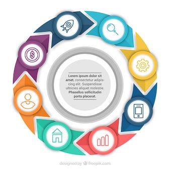 Infográfico circular com setas coloridas