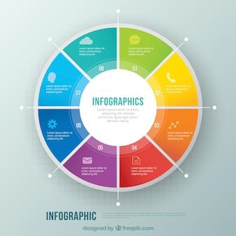 Infográfico círculo colorido