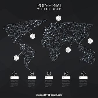 Infográfico com mapa de mundo poligonal