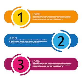 Infográfico com passos de design multicolor
