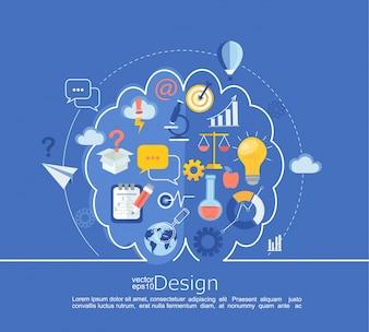 Infográfico criativo da ideia do cérebro esquerdo e direito.