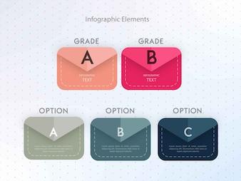 Infográfico de forma de envelope colorido