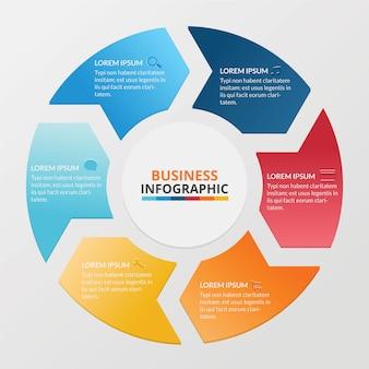 Infográfico de negócios de bandeiras circulares coloridas com setas