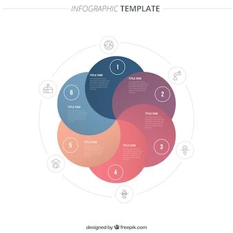 Infográfico modelo feito de círculos coloridos
