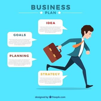 Infográfico, modelo, homem negócios, Executando