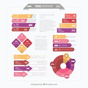Infográfico viagens plano com variedade de transportes