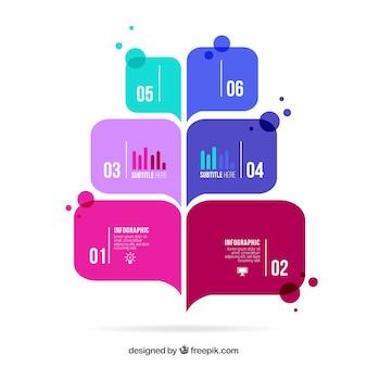 Infográficos bolha do discurso colorido