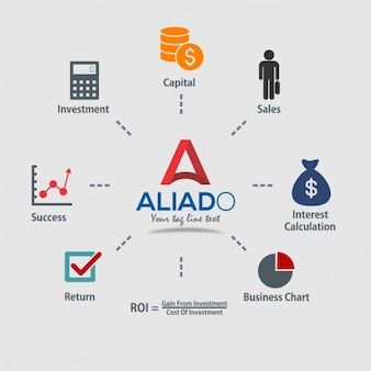 Infográficos de EEntrar R Retornar à da ROI investimento