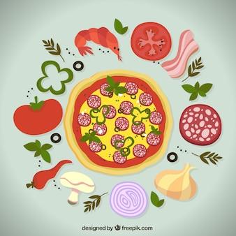 Ingredientes de pizza deliciosa