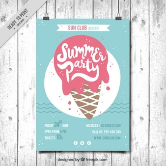 insecto do vintage da festa de verão com uma deliciosa ice-cream