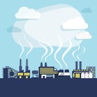 Instalações industriais de fábrica ou planta de fabricação com poluição fundo de fumaça impressão ilustração vetorial