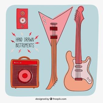 Instrumentos de rock desenhados mão