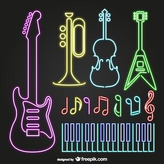 Instrumentos musicais de néon