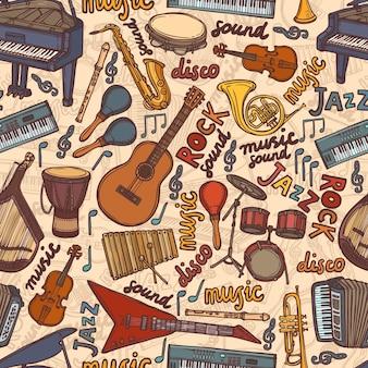 Instrumentos musicais desenham padrão sem costura