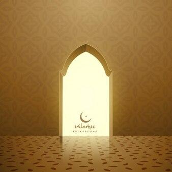 Interior da mesquita dourada com porta