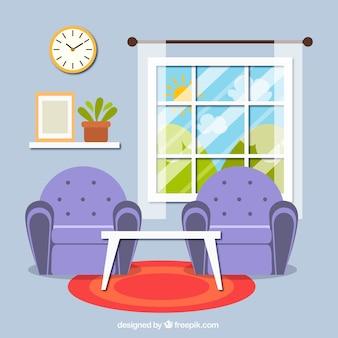Interior da sala de estar com duas poltronas