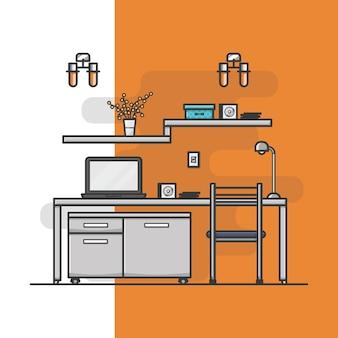 Interior do escritório doméstico